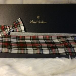 NEW Brooks Bros Stewart Silk Cummerbund & Bow Tie